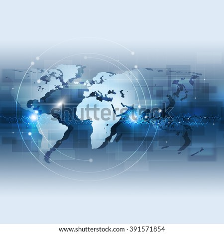 abstract technology global network connection concept blue background