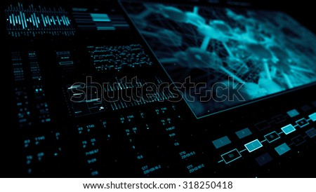 abstract technology interface background with a lot of digits and analysing graphs elements - stock photo