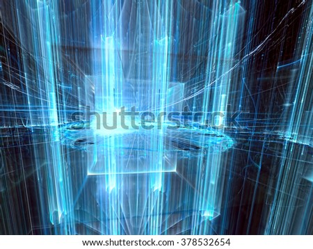 Abstract technology or business background - computer-generated image. Fractal background glowing glass cylinders. For posters, covers and web-design - stock photo
