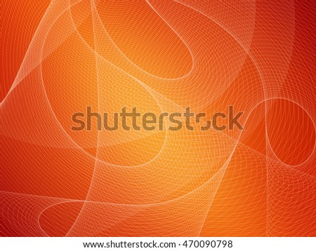 Abstract technology orange background with curved mesh texture