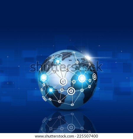 abstract technology world global network business connection blue background