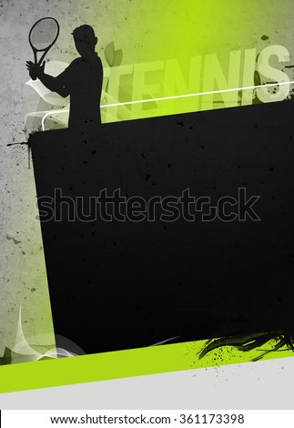 Abstract tennis invitation advert background with empty space. The character is a 3D rendered model, no real person.