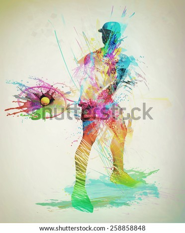 Abstract tennis player - stock photo