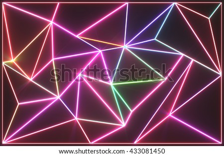 Abstract tessellated wall with neon glowing crack lines.Architectural space 3d illustration - stock photo