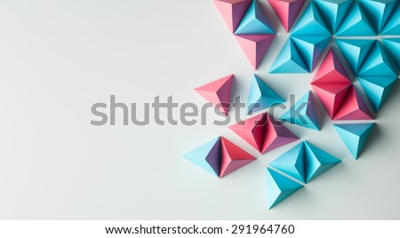 abstract tetrahedron background. copy space available. usefull for business cards and web - stock photo