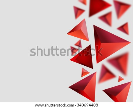 Abstract tetrahedrons background. Red triangles on gray grey backdrop with space for text. Elegant template for web design, business cards and other projects. Three dimensional triangles wallpaper. - stock photo