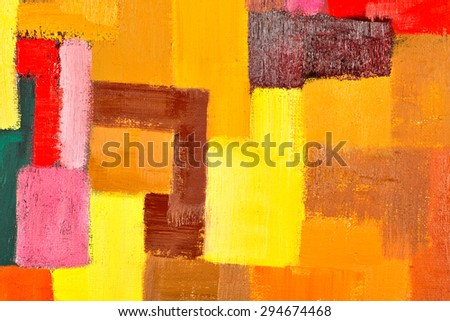 abstract texture background of an original oil geometric painting close-up fragment on canvas with brush strokes.  - stock photo