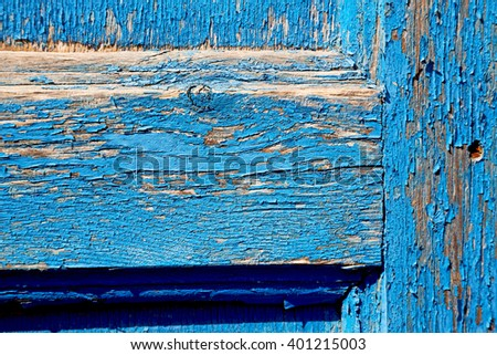 abstract texture of a blue antique wooden     old door