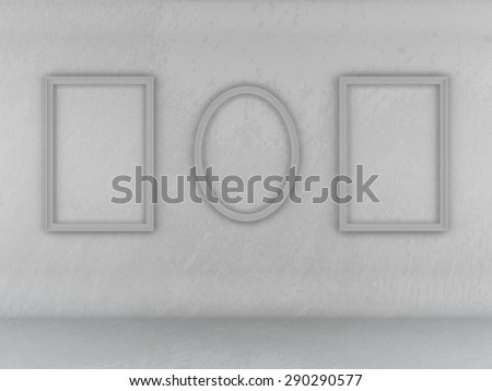Abstract texture of wall and floor gray background empty frame