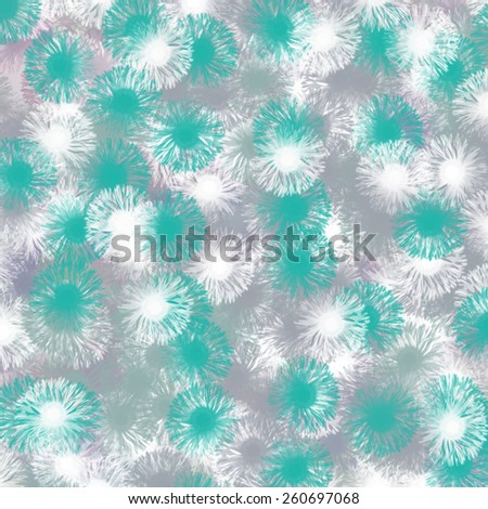 abstract texture, white and blue flower in gray background, seamless pattern - stock photo