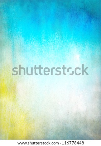 Abstract textured background: blue and yellow patterns. For art texture, grunge design, and vintage paper / border frame - stock photo