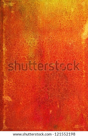 Abstract textured background: red and orange patterns on yellow leather-like backdrop. For art texture, grunge design, and vintage paper / border frame