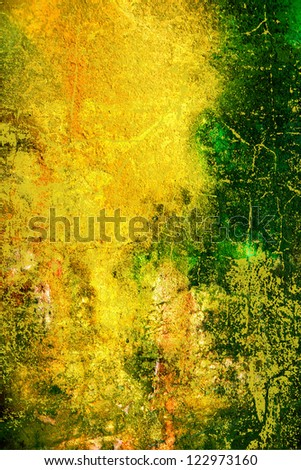 Abstract textured background with green, orange, and brown patterns on yellow backdrop. For art texture, grunge design, and vintage paper / border frame