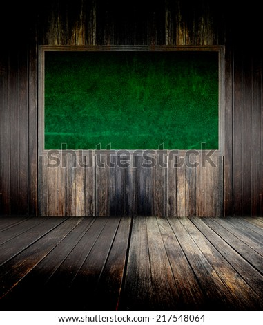 abstract the green blackboard on grunge wall - stock photo