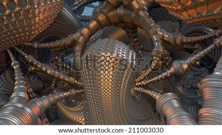 Abstract three-dimensional fractal like a futuristic construction