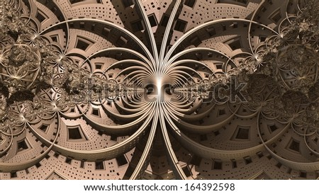 Abstract three-dimensional fractal like a strange geometric techno-pattern