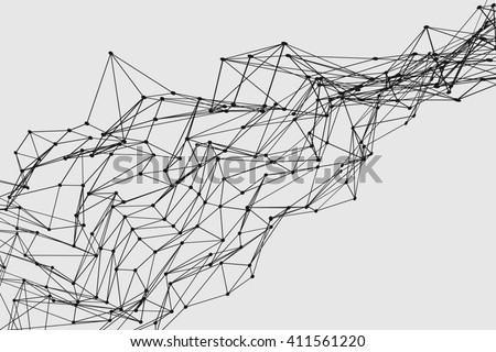Abstract three dimensional polygon wireframe network structure mesh - stock photo
