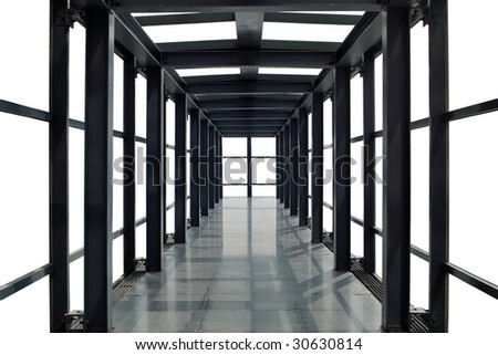 Abstract time and space corridor with white background - stock photo