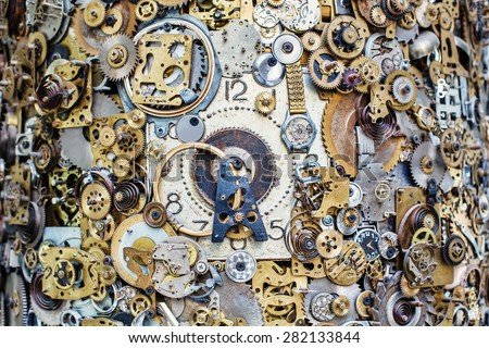 Abstract time, clock mechanism, gears and cogwheels - stock photo