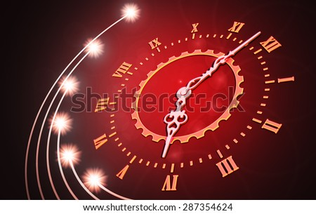 Abstract time concept, clock on red background - stock photo