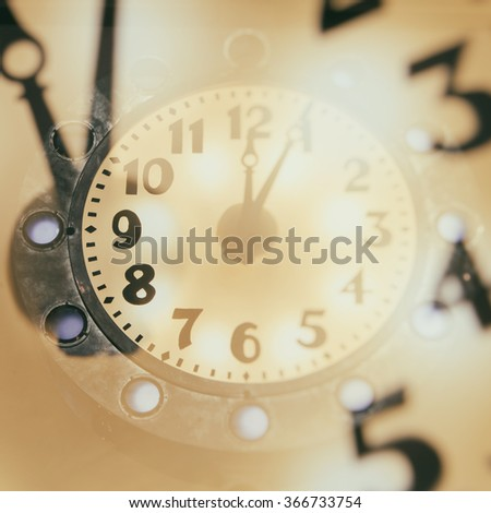 Abstract time concept with retro clock - stock photo