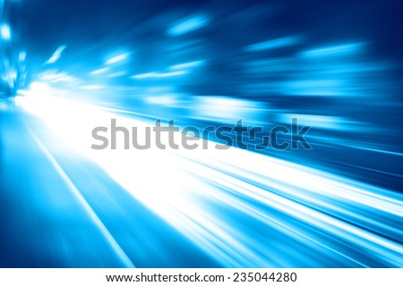 Abstract toned image of night lights with motion blur in the city. - stock photo