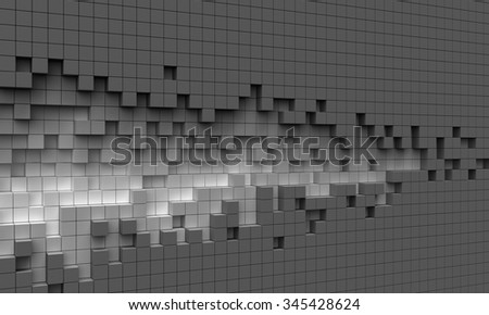 Abstract torn wall or ruined mosaic puzzle surface made of cubes - as well as a form resembling a comet or sound wave or embroidery pattern - stock photo
