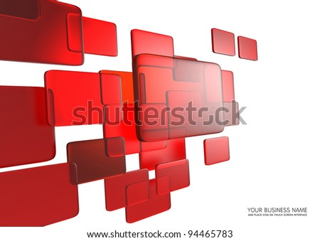 abstract touch screen interface Red glass background - stock photo