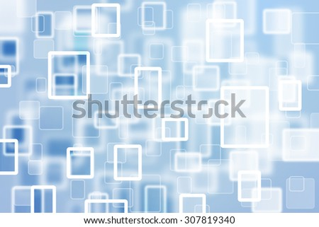 Abstract touchscreen rectangle and square bokeh computer background. Blurred rectangle and square blue color bokeh illustration background. - stock photo