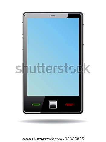 Abstract  touchscreen smart phone with blue screen isolated on white background