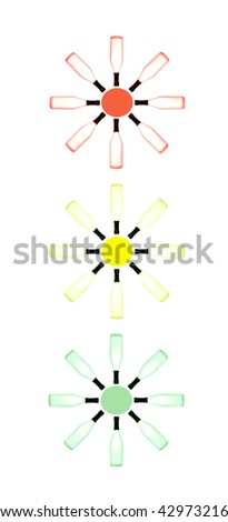 Abstract traffic light made from bottles on white isolated - stock photo
