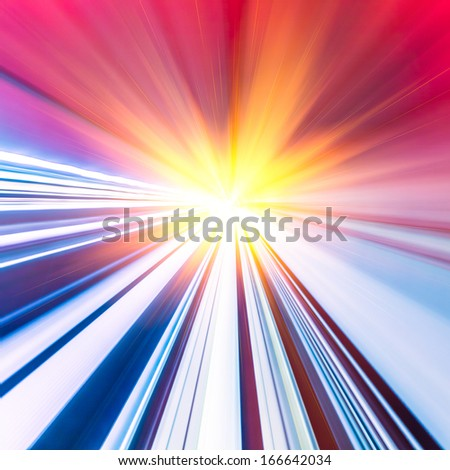 Abstract train moving in tunnel - stock photo