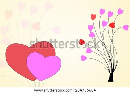 Abstract tree and hearts shape for  background