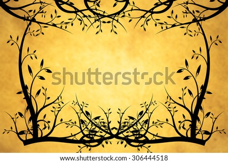 Abstract tree and orange background for frame