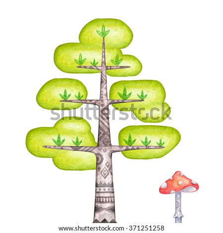 abstract tree clip art, watercolor magic forest illustration, unusual nature design elements isolated on white background - stock photo