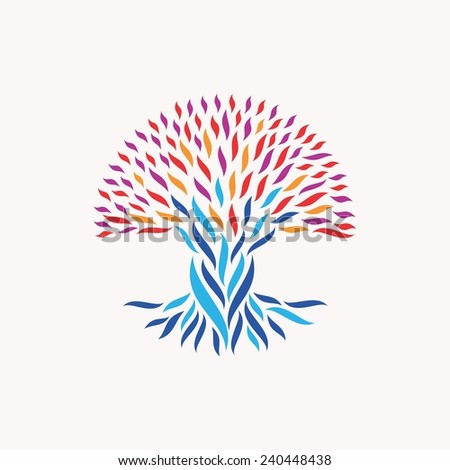 Abstract tree illustration. Concepts for unity, community, team work, diversity ethnic and social issues. - stock photo