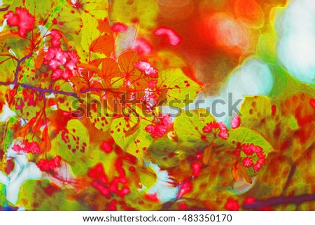 abstract tree leaves. Illustration designed for interior art decoration