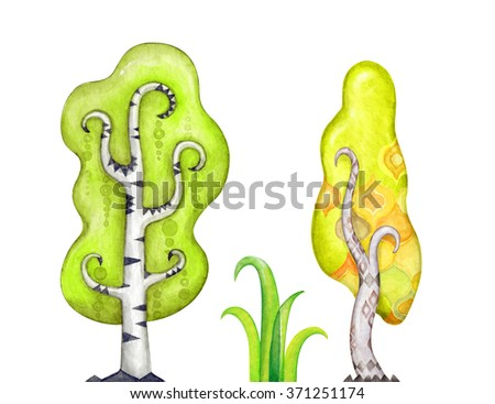 abstract trees clip art, watercolor magic forest illustration, unusual nature design elements isolated on white background - stock photo