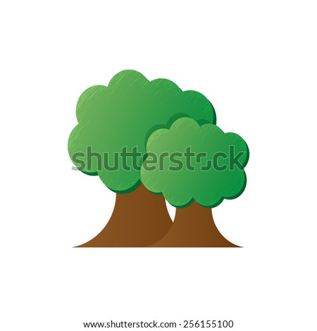 Abstract trees on white background. - stock photo