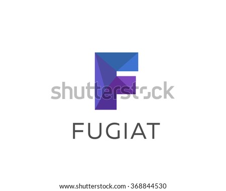 abstract trend polygon letter f logo design template art tech media app creative sign