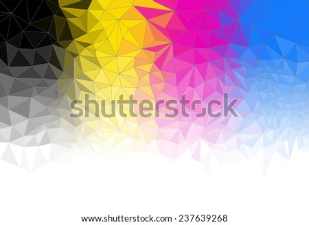 Abstract triangle background, cmyk, cyan magenta yellow black - stock photo