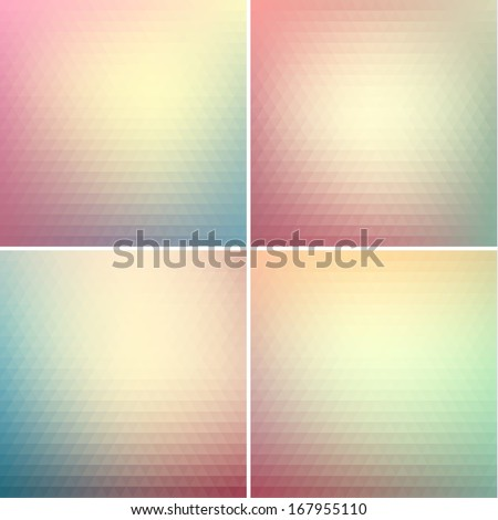 Abstract triangle backgrounds set - raster version - stock photo