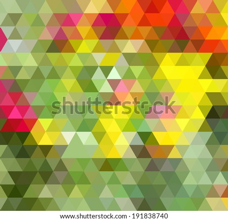 Abstract Triangle Green Yellow Background, Raster Version - stock photo