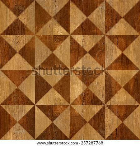 Abstract triangle pattern - seamless background - wooden surface - stock photo