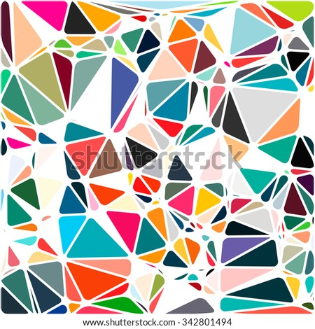 Abstract Triangle Polygonal Geometrical Background, Illustration. Geometric design frame for business presentations, flyers banners brochures, leaflets, web. Bright pink orange green blue - stock photo