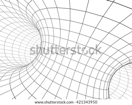 Abstract tunnel from a grid of grey color. Isolated on white background. 3d render