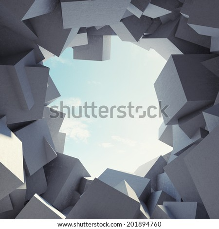 Abstract tunnel to sunlight made of concrete cubes - stock photo