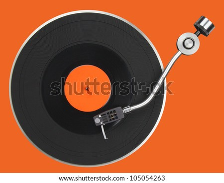 Abstract turntable part isolated on orange