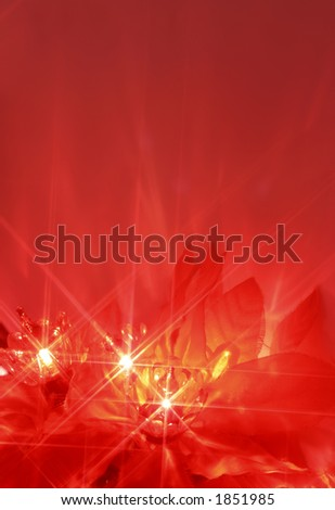 abstract twinkling poinsettia christmas lights - stock photo