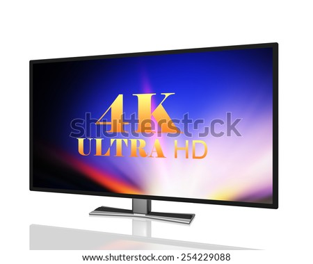 abstract ultra high definition digital television  4K UltraHD TV  isolated on white background - stock photo